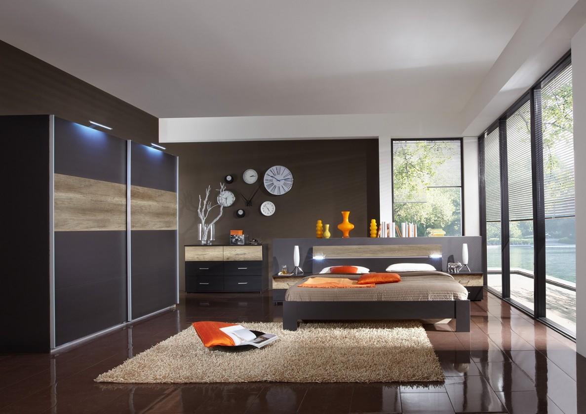 Spálňový program Madrid - Komplet veľký 2, posteľ 180 cm (lava čierna/divoký dub)