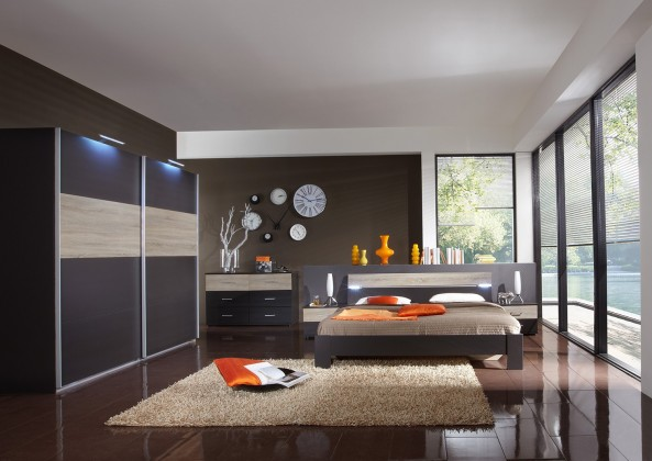 Spálňový program Madrid - Komplet veľký 2, posteľ 180 cm (lava čierna/dub)