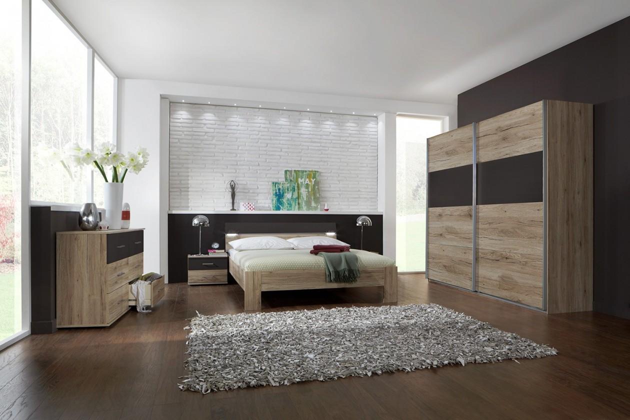 Spálňový program Madrid - Komplet veľký, posteľ 160 cm (dub san remo/lava čierna)