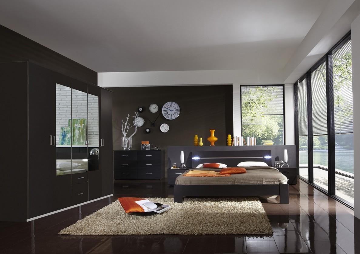 Spálňový program Madrid - Komplet veľký, posteľ 160 cm (lava čierna)