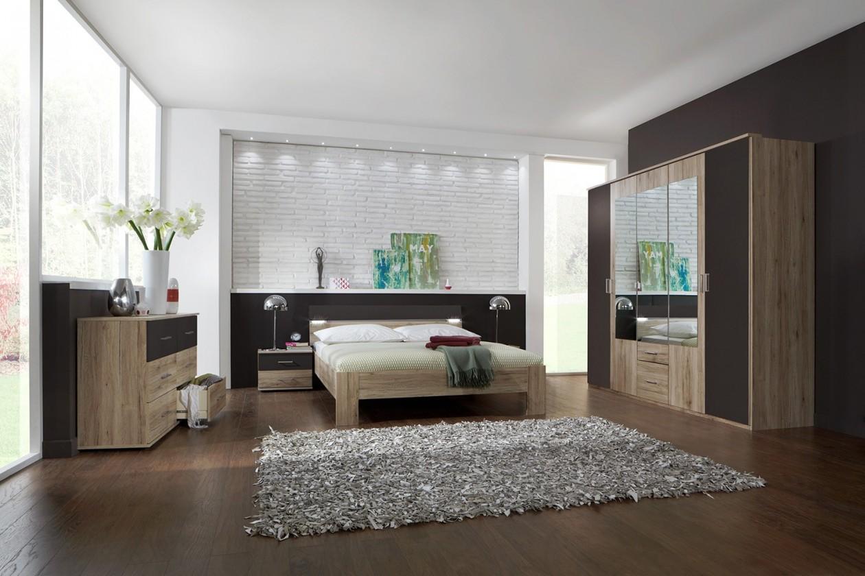 Spálňový program Madrid - Komplet veľký, posteľ 180 cm (dub san remo/lava čierna)