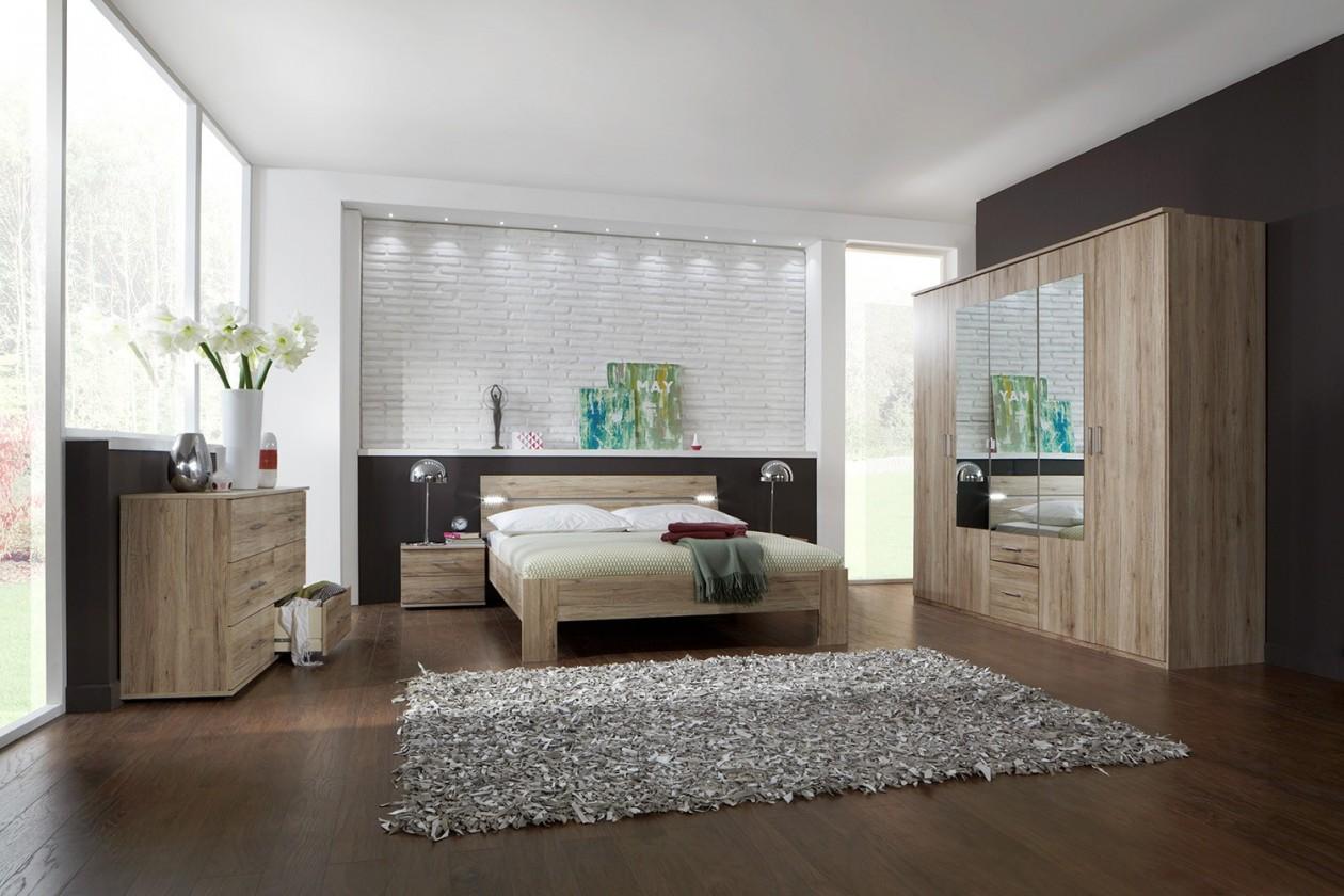 Spálňový program Madrid - Komplet veľký, posteľ 180 cm (dub san remo)