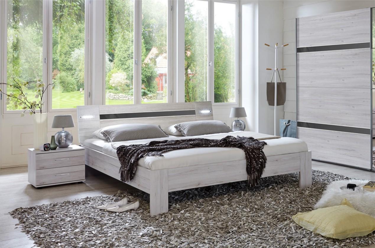 Spálňový program Nizza - komplet, posteľ 160cm (dub biely,šedá vysoký lesk)