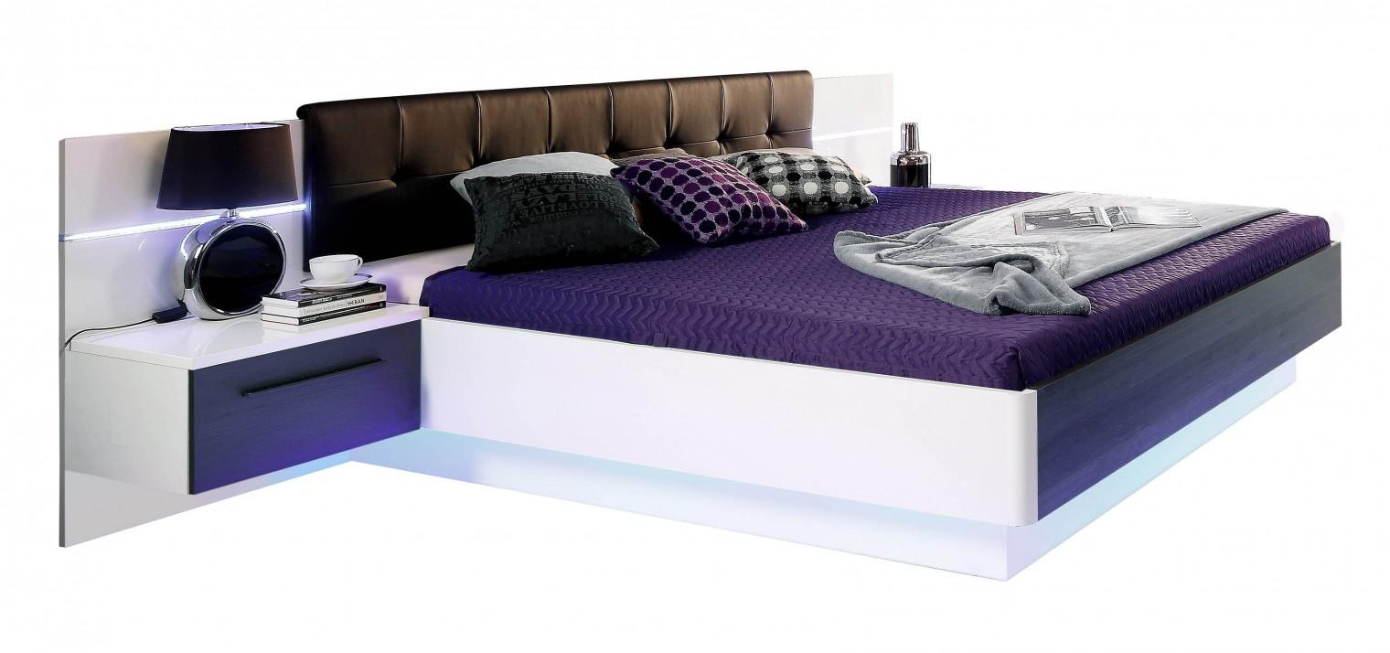 Spálňový program Recover - komplet, posteľ 180cm (biely lesk, dub čierny)
