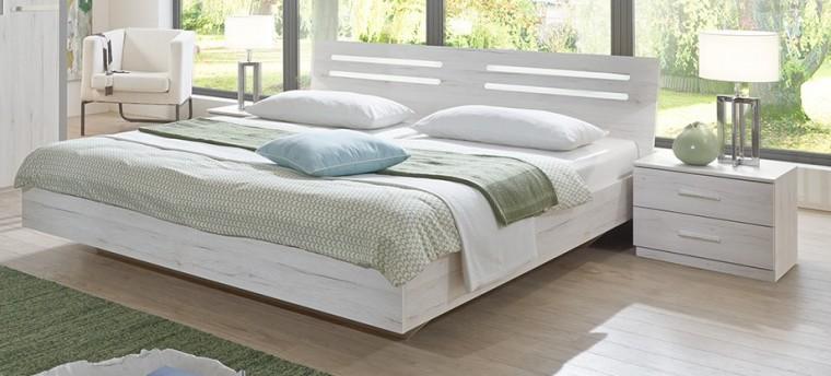 Spálňový program Susan - komplet, posteľ 180cm (biely dub, chrómové doplnky)