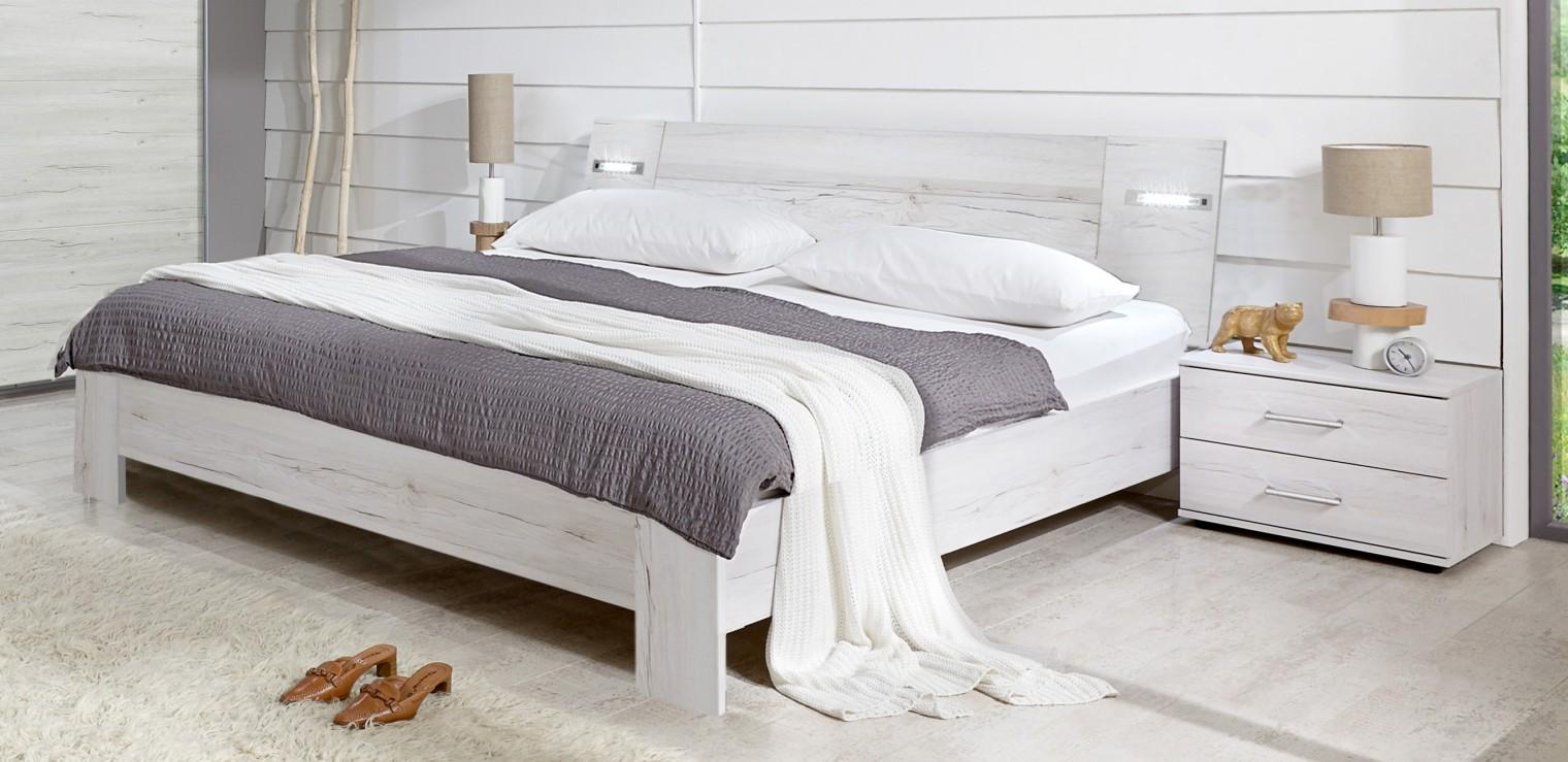 Spálňový program Vicenza - Komplet, posteľ 140 cm (dub biely)