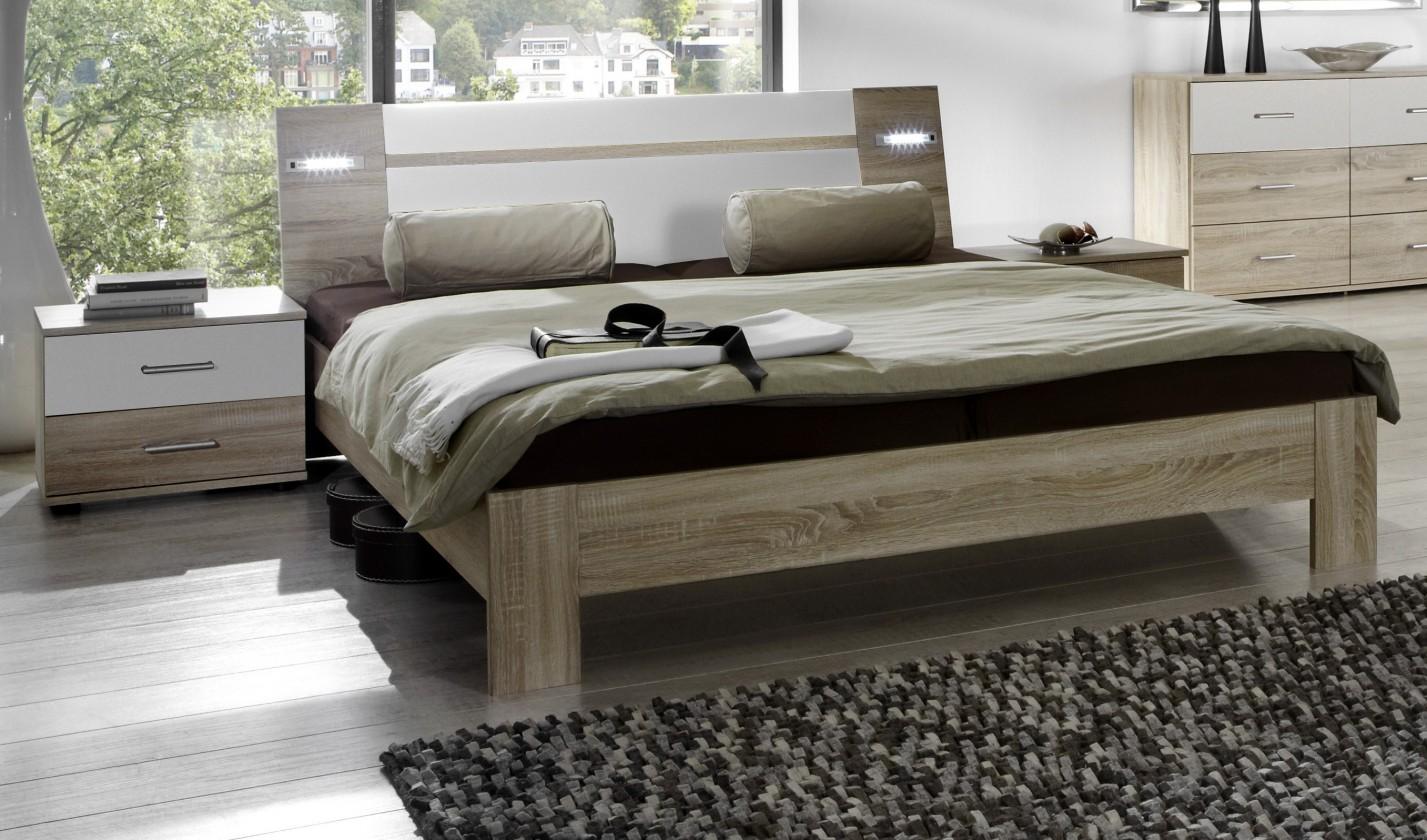 Spálňový program Vicenza - Komplet, posteľ 180 cm (dub/alpská biela)