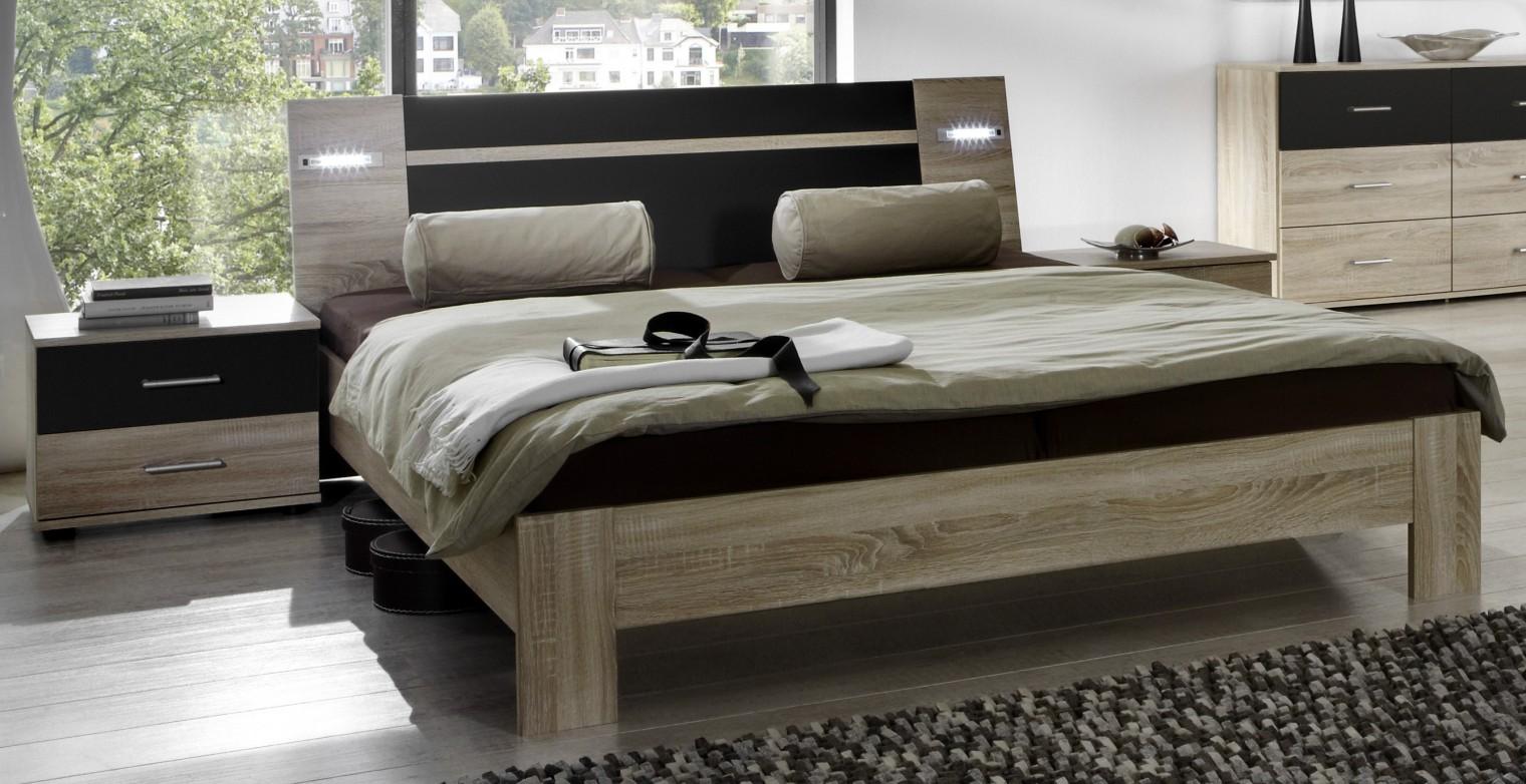 Spálňový program Vicenza - Komplet, posteľ 180 cm (dub/lava čierna)