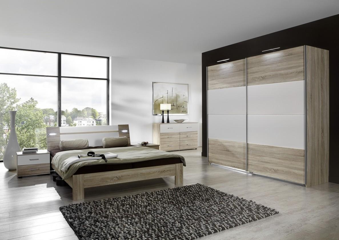 Spálňový program Vicenza - Komplet veľký 2, posteľ 180 cm (dub/alpská biela)
