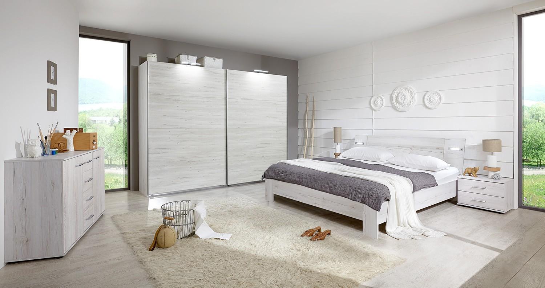 Spálňový program Vicenza - Komplet veľký 2, posteľ 180 cm (dub biely)