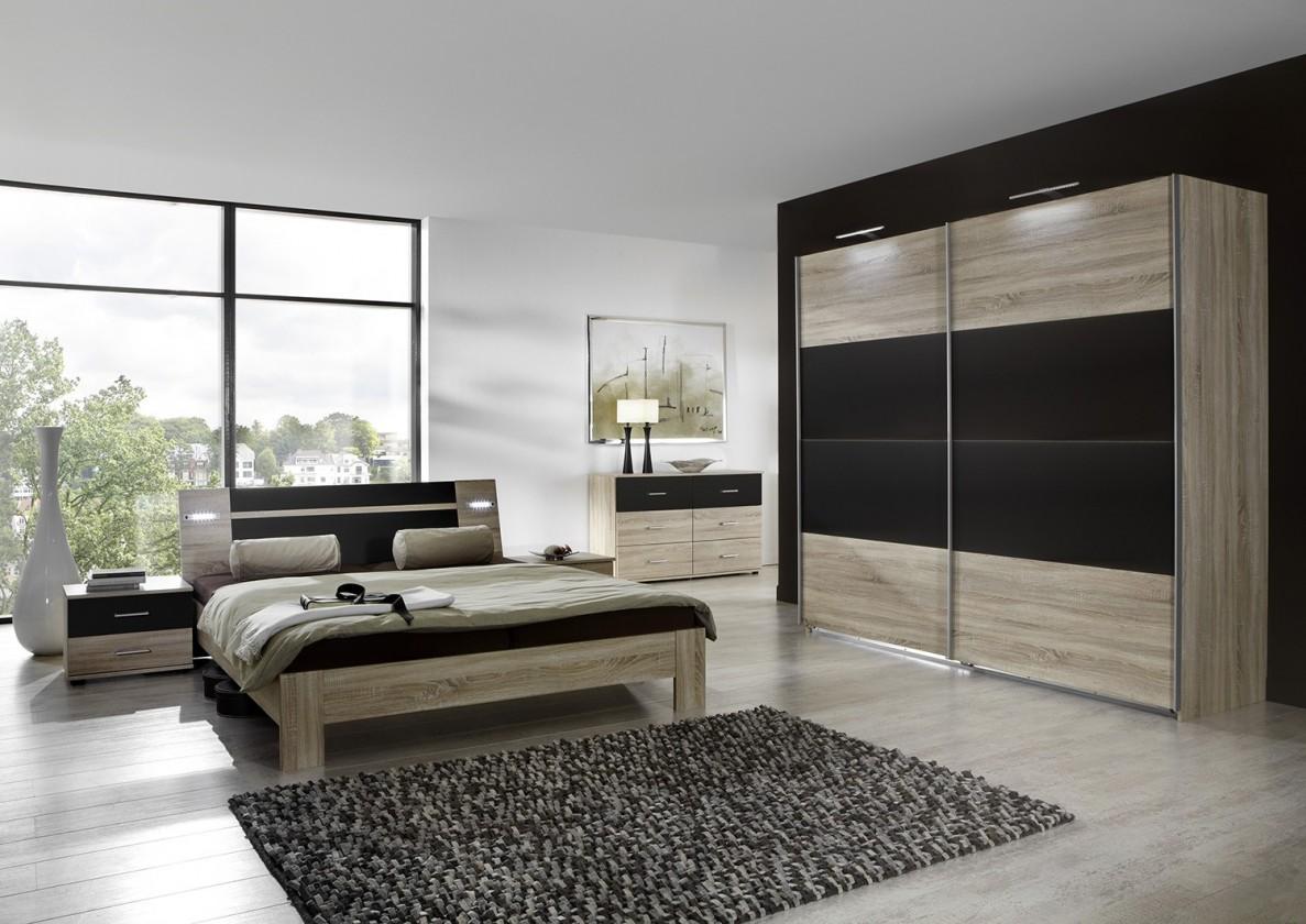 Spálňový program Vicenza - Komplet veľký 2, posteľ 180 cm (dub/lava čierna)