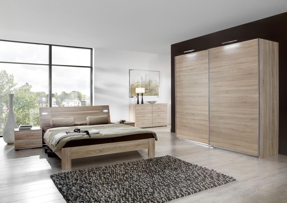 Spálňový program Vicenza - Komplet veľký 2, posteľ 180 cm (dub)