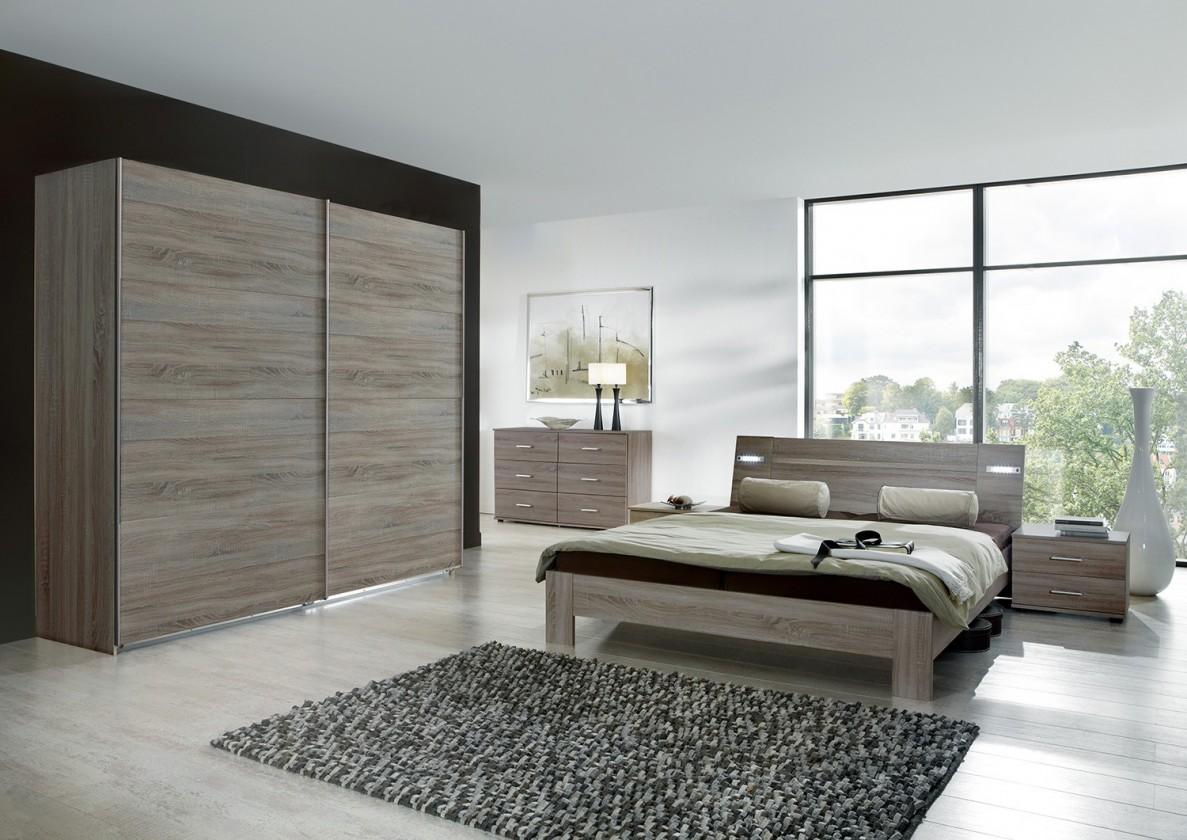 Spálňový program Vicenza - Komplet veľký, posteľ 160 cm (dub montana)