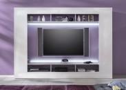 Speed - Obývacia stena (cementová sivá/biela vysoký lesk)