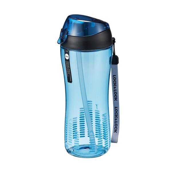 Športová fľaša, 550ml, so slamkou (modrá)
