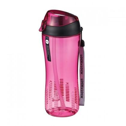Športová fľaša, 550ml, so slamkou (ružová)