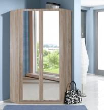 Sprint - rohová skriňa,198 cm,2x zrkadlo (dub hrubá štruktúra)