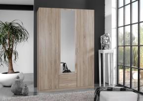 Sprint - skriňa 135 cm,3x dvere,1x zrkadlo (dub hrubá štruktúra)