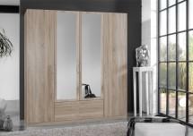 Sprint - skriňa 180 cm,4x dvere,2x zrkadlo (dub hrubá štruktúra)