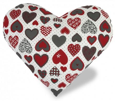 Srdce - Vankúšik, bavlna (srdce červenosivé)