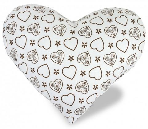 Srdce - Vankúšik, bavlna (srdce hnedé na biele)