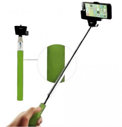 Statív C-TECH teleskopický selfie držák pro mobil, zelený