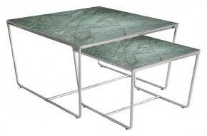 Stella - set 2 stolíkov, stohovateľné (chróm, zelená)