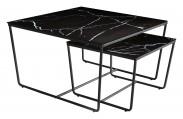 Stella - set 2 stolíkov, stohovateľné (čierna, čierna)