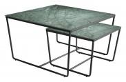 Stella - set 2 stolíkov, stohovateľné (čierna, zelená)