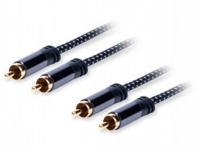 Stereo audio kábel AQ 6OKRR015, 2xRCA / 2xRCA, 1,5m POUŽITÉ, NEOP