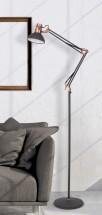 Stojaca lampa Gareth, kovová, s pohyblivým ramenom, 172cm