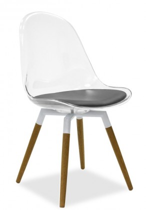 Stolička Bonni 9302-800+FIDO 9315-454 (transparentní,biela,dub)