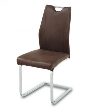 Stolička Carol(hnedá/chróm)