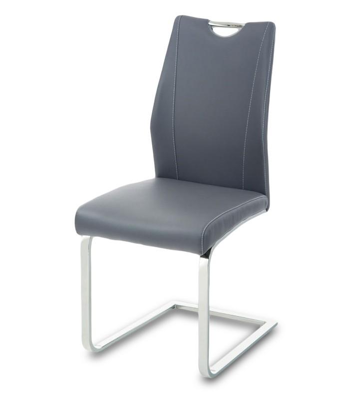 Stolička Carol(koženka sivá/chróm)