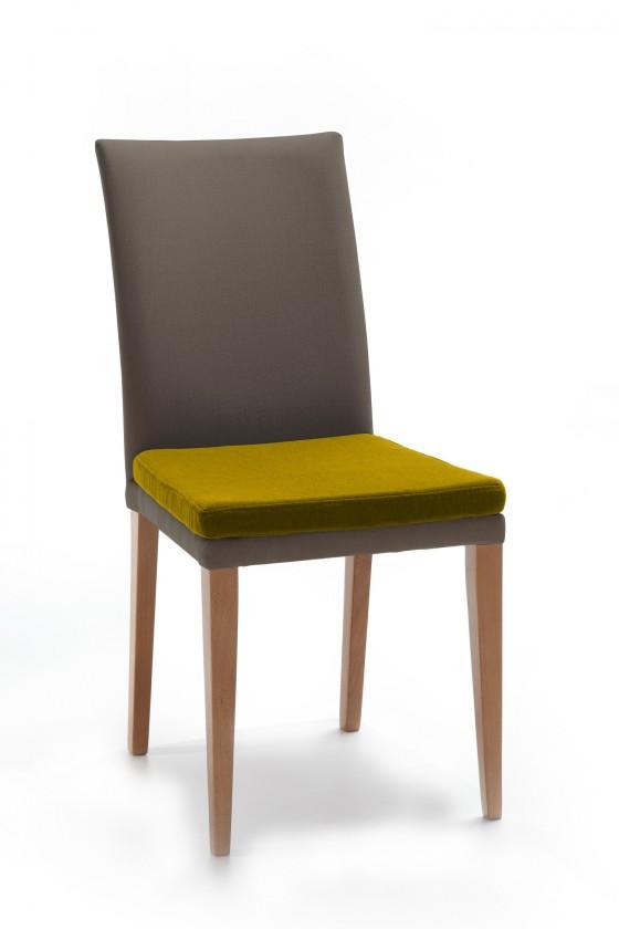Stolička Crista (dub/látka navara sivá/sedák horčicová)