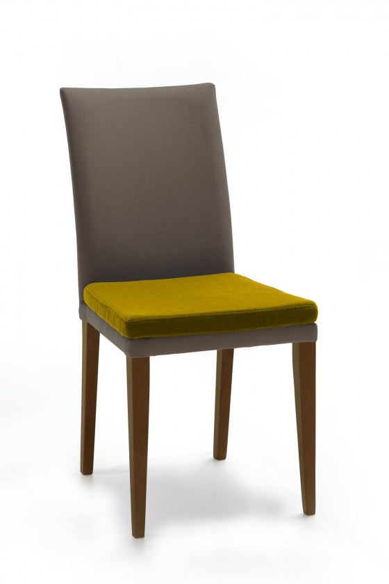 Stolička Crista (jasan/látka navara sivá/sedák horčicová)
