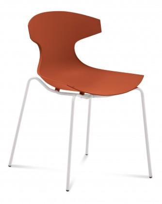 Stolička ECHO(bílý lak + cihlově červená)