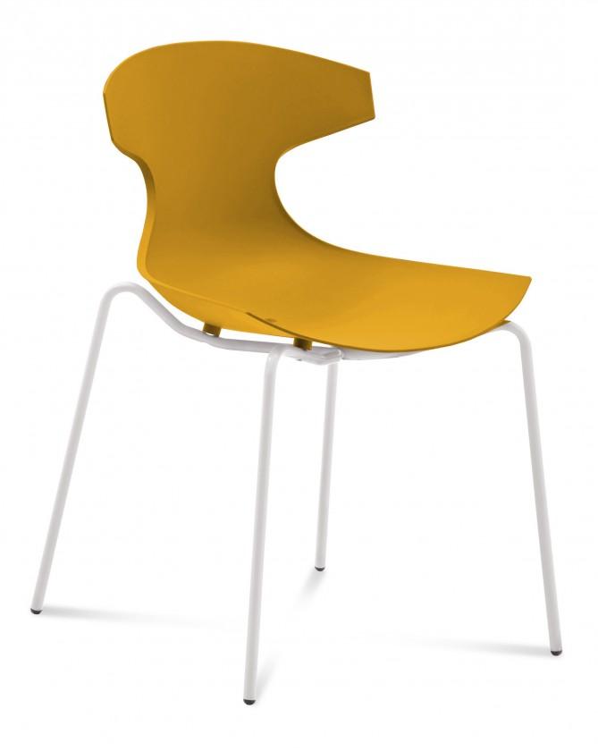 Stolička ECHO(bílý lak + hořčicová)