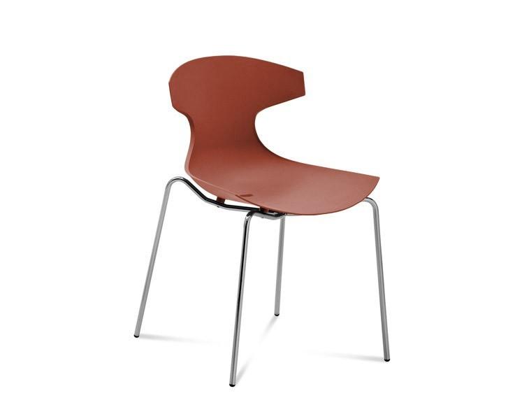 Stolička ECHO(chrom + cihlově červená)
