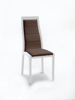 Stolička Floreana (biela mat / látka antara tmavo hnedá)