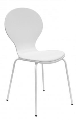 Stolička Flower - Jedálenská stolička, sedák (biela, eko koža)