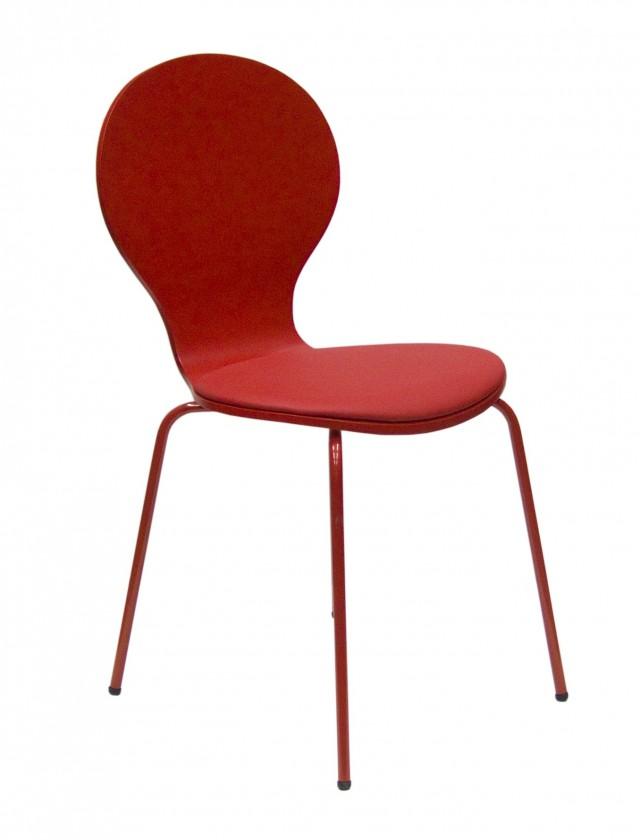 Stolička Flower - Jedálenská stolička, sedák (červená, eko koža)