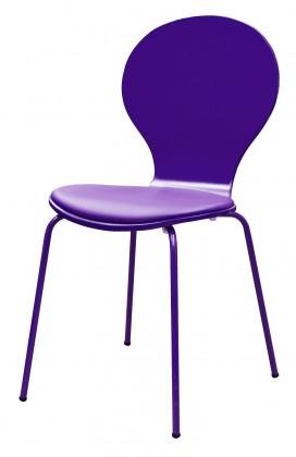 Stolička Flower - Jedálenská stolička, sedák (fialová, eko koža)