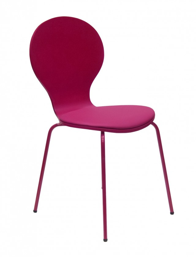 Stolička Flower - Jedálenská stolička, sedák (fuchsiová, eko koža)