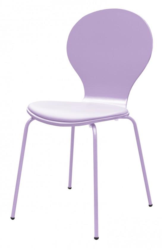 Stolička Flower - Jedálenská stolička, sedák (lila, eko koža)
