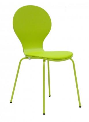 Stolička Flower - Jedálenská stolička, sedák (limetková, eko koža)