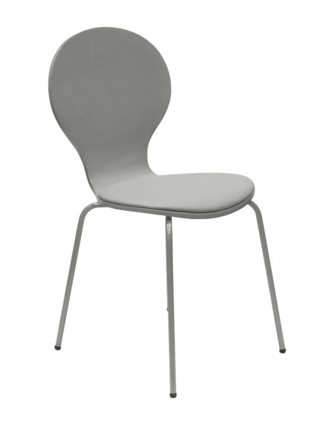 Stolička Flower - Jedálenská stolička, sedák (sivá, eko koža)