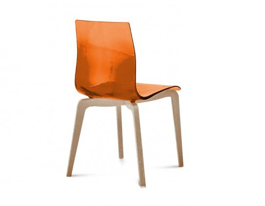 Stolička GEL-L(biela ashwood + oranžová)