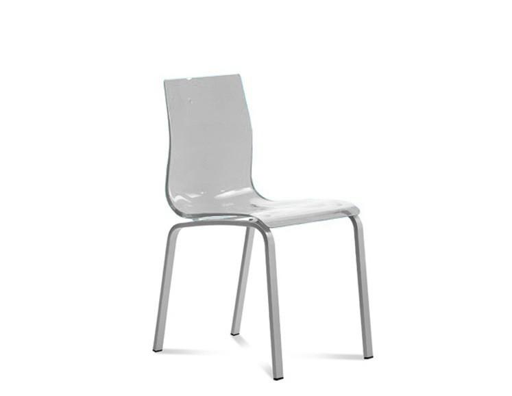 Stolička GEL-R(hliník + priehladná)