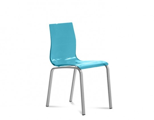 Stolička GEL-R(hliník + světle modrá)